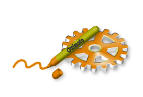 3D Graphic Marker Pen and Cog Wheel